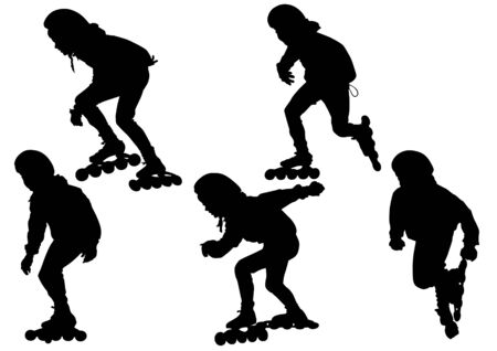 drawing boys athletes on skates. Silhouette on white background Vector
