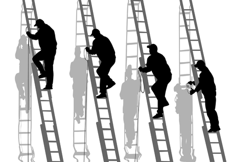 manual workers: drawing of building structures and worker on stairs
