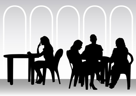 drawing people in cafes. Silhouettes of people in urban life Stock Vector - 7038767