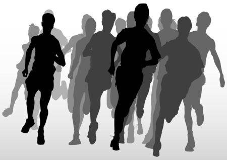 jovenes en grupo: dibujo atleta an. silueta de deportistas en ejecuci�n