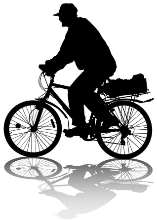 cycling race:  image of cyclists on vacation. Silhouettes on white background