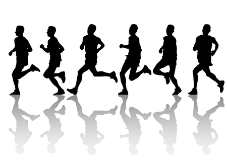 activity exercising:  drawing running athlete an. Silhouette of sports people