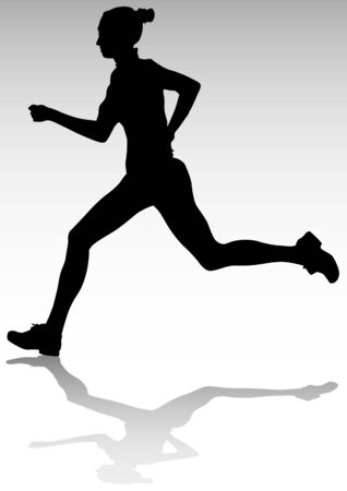 activity exercising:  drawing running athlete women. Silhouette of sports people