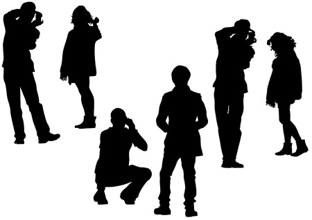 image of people with cameras for a walk Vector