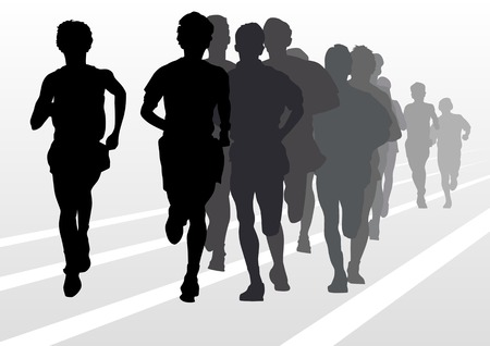 drawing running athlete an. Silhouette of sports people Vector
