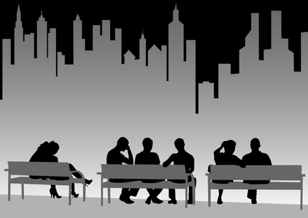 waiting:  drawing of people on city benches Illustration