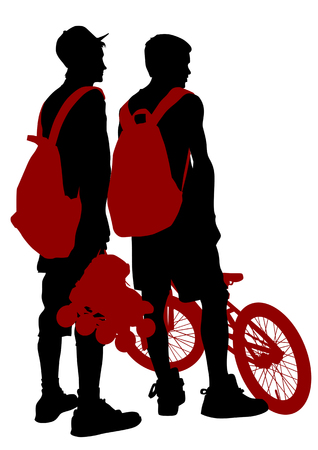 drawing  athletes on skates and bike. Silhouette people Vector