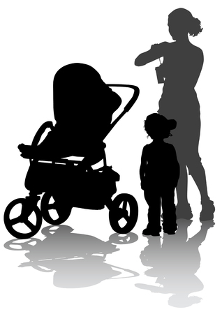 drawing mother with children. Silhouettes on a white background Vector