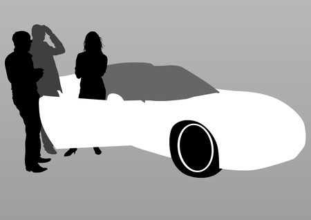 exotic car: drawing of a sports car and people