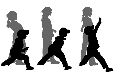little girl dancing: drawing girl and boy in motion. Silhouette on white background