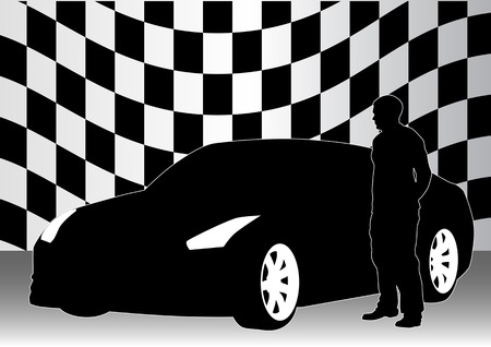 exotic car: drawing of a sports car and man