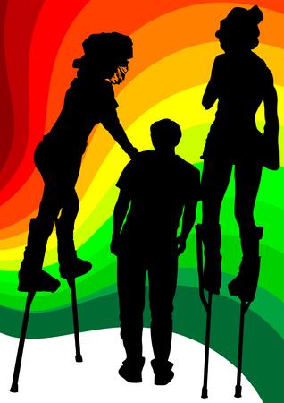 stilts: image of artists on stilts on the colored background