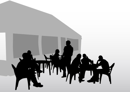 cafe table: drawing people in cafes. Silhouettes of people in urban life