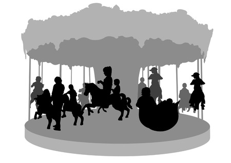amusement park ride: drawing of children on carousel