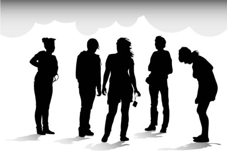 drawing crowds on holiday. Silhouettes of men and women Vector
