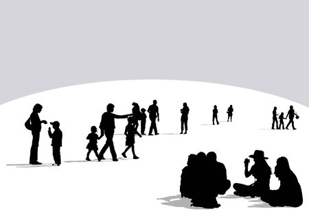 drawing crowds on street. Silhouette on white background Vector