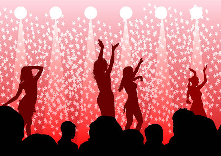 drawing silhouettes of dancing girls in a nightclub Vector