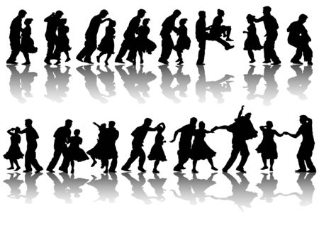drawing dancing couples. Silhouettes on white background Stock Vector - 7158403