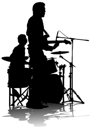 performing arts event: drawing musical group on stage. Silhouettes on white background