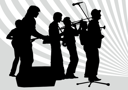 drawing music jazz orchestra. Artists on stage Stock Vector - 7158400