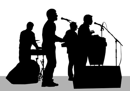 hillbilly: drawing musical group on stage. Silhouettes on white background