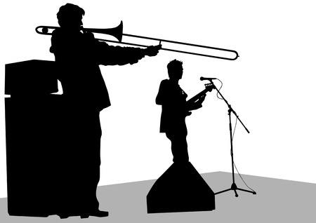 drawing music jazz orchestra. Artists on stage Vector