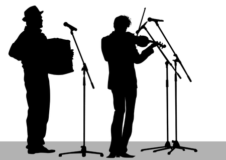 drawing musical group in concert on stage Stock Vector - 7158404