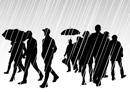 drawing groups of people with umbrellas on rain Vector