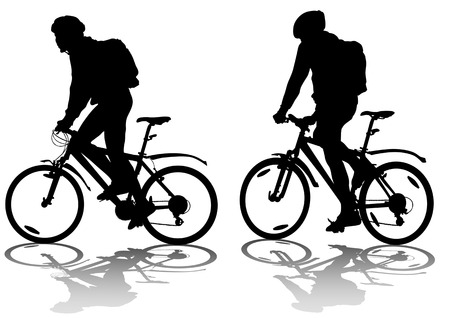 cycling helmet: drawing silhouette of a cyclist in motion. Silhouette on white background