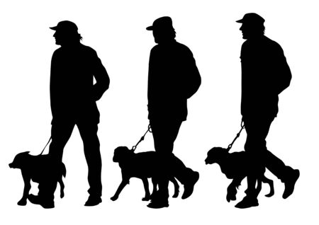 dog walking: Vector image of man with a dog on a leash