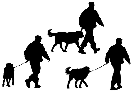 dog walking: Vector image of police man with a dog on a leash Illustration