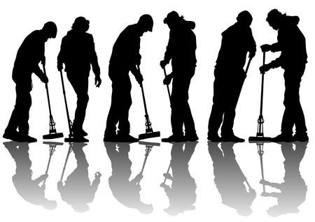 vacuuming: immagine di uomo, spazzare le foglie. Silhouette di persone lavoro