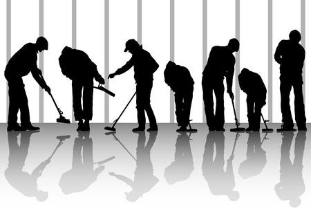 cleaner vacuuming:  image of man, sweeping leaves. Silhouette of work people