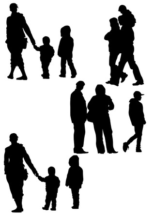 drawing parents and children. Silhouettes of people Vector