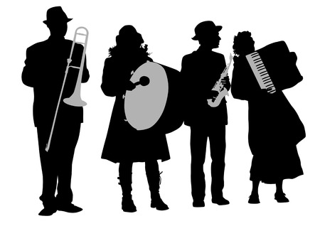 drawing music folk orchestra. Artists on stage Vector