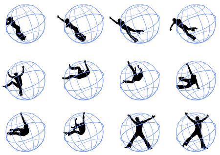activity exercising:  drawing a circus performance. Gymnast in a round cage