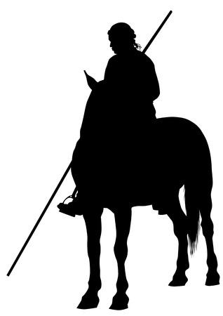 Silhouette di un cavaliere medievale con una lancia a cavallo