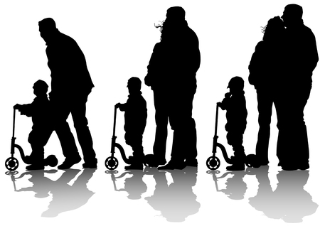 drawing little boy on scooter. Silhouette of people Vector