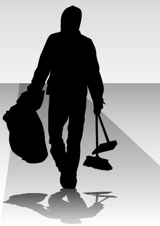 brush cleaner:  image of man, sweeping leaves. Silhouette of work people