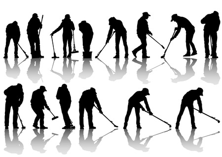 cleaning woman: image of women and man, sweeping leaves
