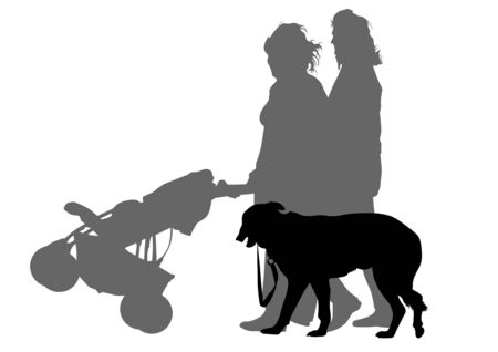 drawing mother with children and dog. Silhouettes on a white background Vector