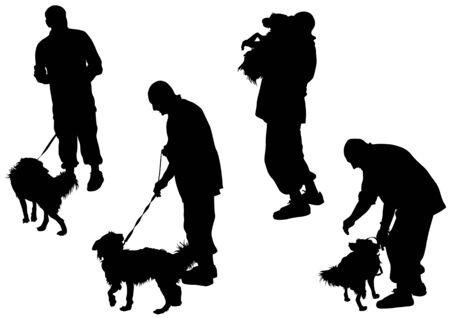 image of man with a dog on a leash Vector