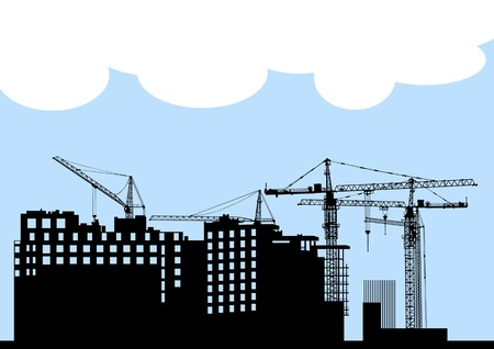 drawing of construction of modern buildings and equipment Stock Vector - 7460541
