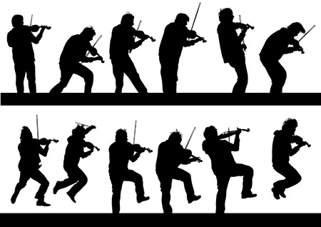 musician silhouette:  drawing a violinist playing at a concert