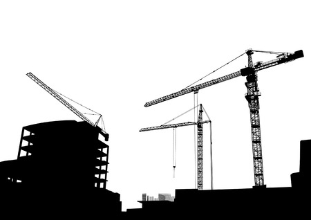 building site: Drawing of construction of modern buildings and equipment
