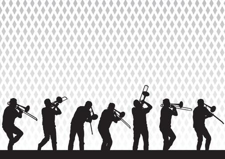 trombon: Dibujo de artista con un trombón en el escenario durante una actuación en vectorial