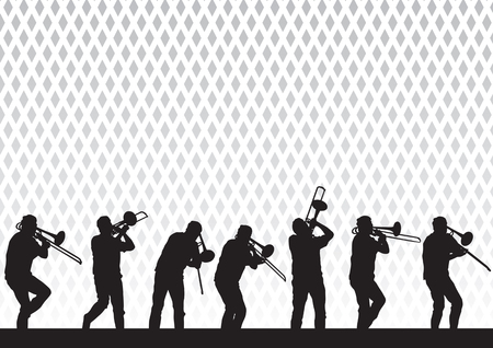 bands: Vector drawing artist with a trombone on stage during a performance Illustration