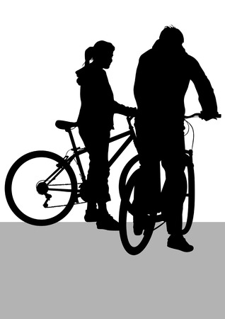 Drawing silhouette of a cyclist boy and girl. Silhouette on white background Vector