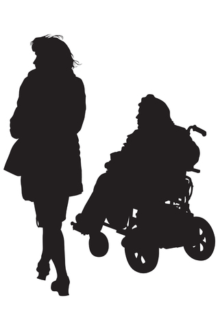 lame: Graphic disabled and women on a walk. Silhouettes of people