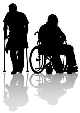 paraplegic: Vector grafische uitgeschakeld op een wandeling. Silhouetten van mensen Stock Illustratie